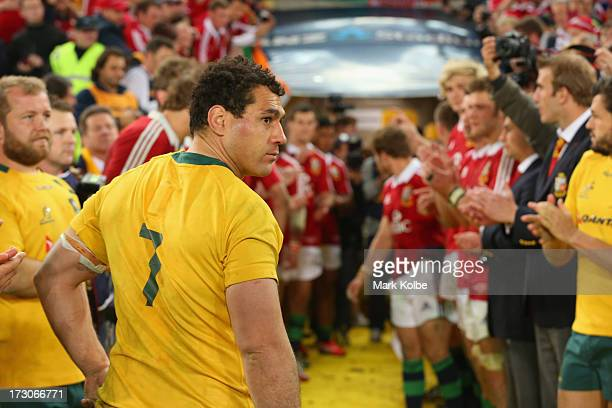 George Smith of the Wallabies looks back as he leave the field after the International Test match between the Australian Wallabies and British Irish...