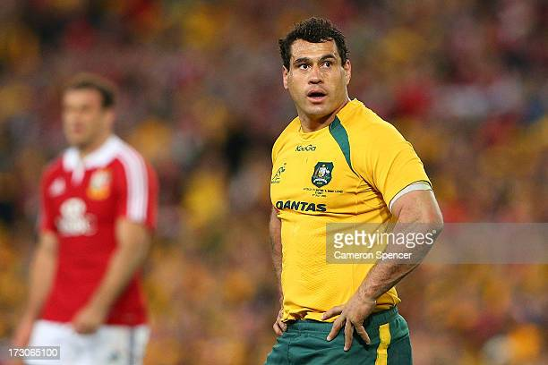George Smith of the Wallabies looks on during the International Test match between the Australian Wallabies and British Irish Lions at ANZ Stadium on...