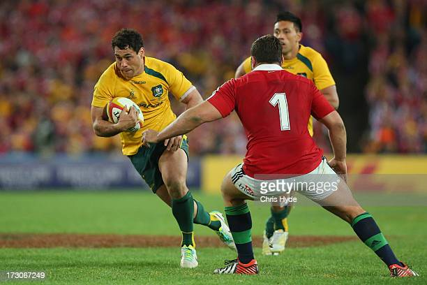 George Smith of the Wallabies runs the ball during the International Test match between the Australian Wallabies and British Irish Lions at ANZ...