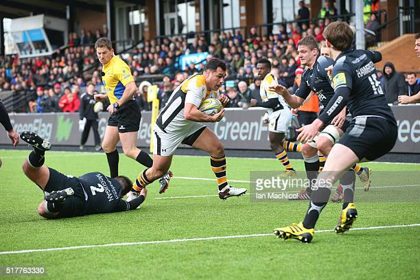 George Smith of Wasps drives through to score a try during the Aviva Premiership match between Newcastle Falcons and Wasps at Kingston Park on March...