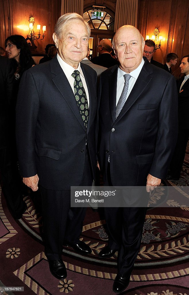 <a gi-track='captionPersonalityLinkClicked' href=/galleries/search?phrase=George+Soros&family=editorial&specificpeople=212841 ng-click='$event.stopPropagation()'>George Soros</a> (L) and Former South African President F.W. de Klerk attend a cocktail reception at the 4th Fortune Forum Summit held at The Dorchester on December 4, 2012 in London, England.