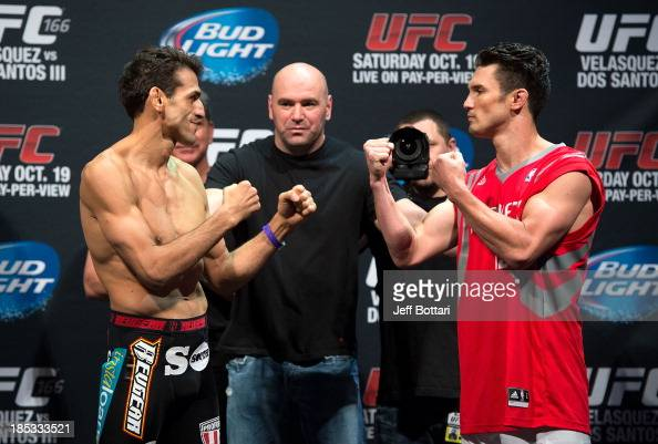George Sotiropoulos and KJ Noons face off during the UFC 166 weighin at the Toyota Center on October 18 2013 in Houston Texas