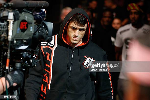 George Sotiropoulos enters the arena before facing KJ Noons in their UFC lightweight bout at the Toyota Center on October 19 2013 in Houston Texas