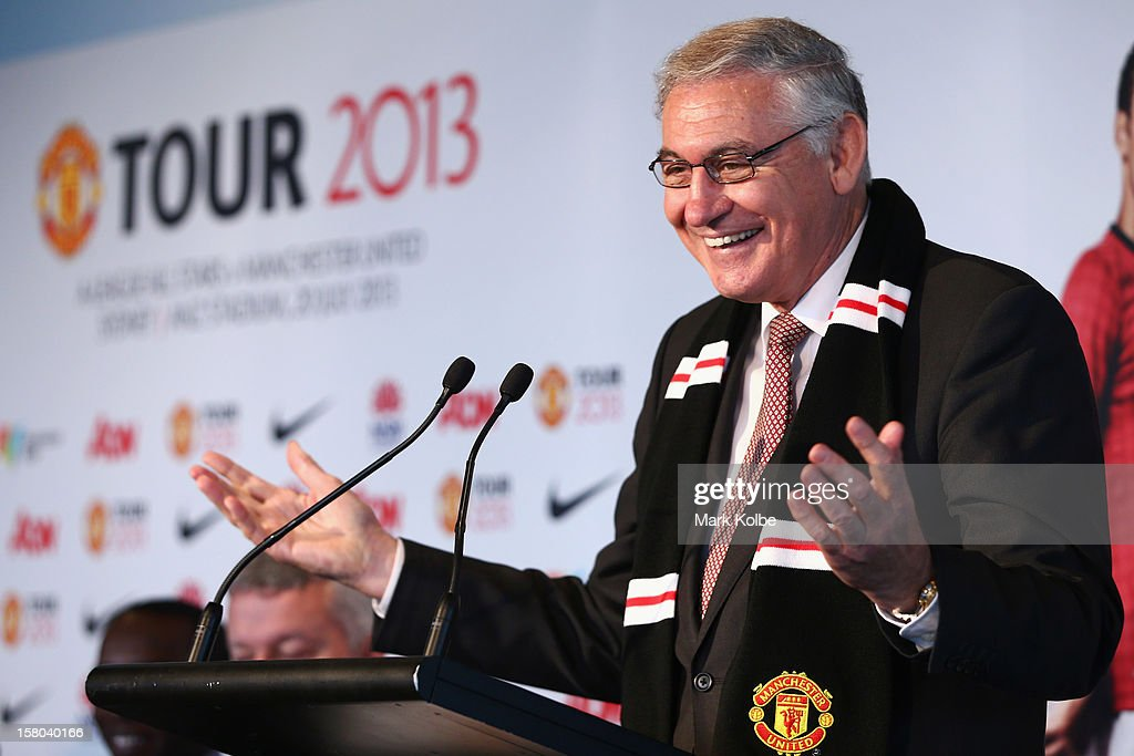 George Souris MP speaks to the media during a press conference at Museum of Contemporary Art on December 10, 2012 in Sydney, Australia. Manchester United will play an A-League All-Stars match in Sydney on July 20, 2013.