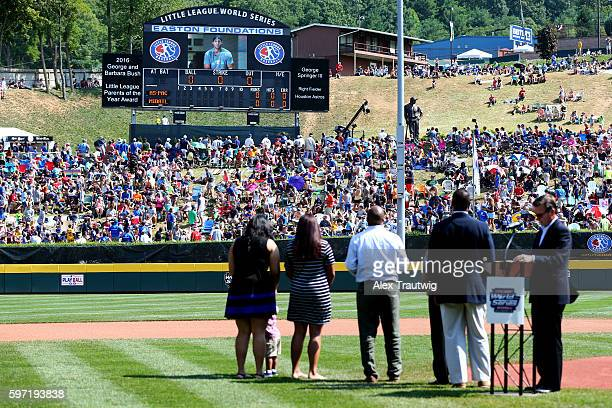 George Springer of the Houston Astros congratulates his parents George and Laura Springer for being named 2016 George and Barbara Bush Little League®...