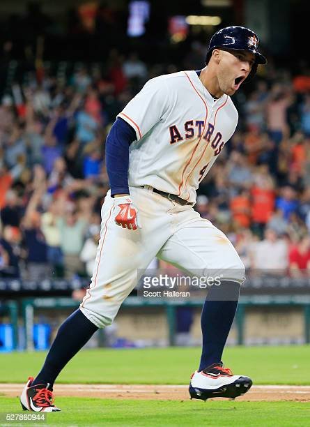 George Springer of the Houston Astros connects on a tworun home run in the fourth inning of their game against the Minnesota Twins at Minute Maid...