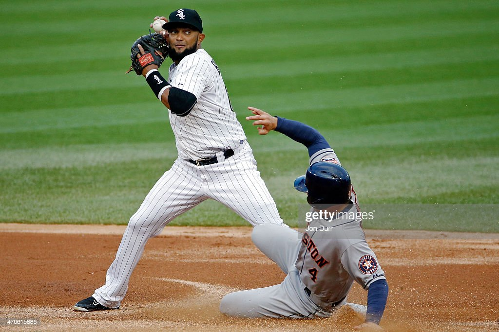<a gi-track='captionPersonalityLinkClicked' href=/galleries/search?phrase=George+Springer&family=editorial&specificpeople=8060257 ng-click='$event.stopPropagation()'>George Springer</a> #4 of the Houston Astros slides into second base to break up the double play by <a gi-track='captionPersonalityLinkClicked' href=/galleries/search?phrase=Emilio+Bonifacio&family=editorial&specificpeople=4193706 ng-click='$event.stopPropagation()'>Emilio Bonifacio</a> #64 during the first inning of the Chicago White Sox at U.S. Cellular Field on June 10, 2015 in Chicago, Illinois.