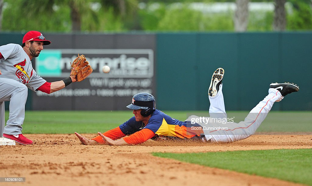 George Springer #75 of the Houston Astros steals second base against <a gi-track='captionPersonalityLinkClicked' href=/galleries/search?phrase=Daniel+Descalso&family=editorial&specificpeople=6800752 ng-click='$event.stopPropagation()'>Daniel Descalso</a> #33 of the St. Louis Cardinals during a spring training game at Osceola County Stadium on March 1, 2013 in Kissimmee, Florida.