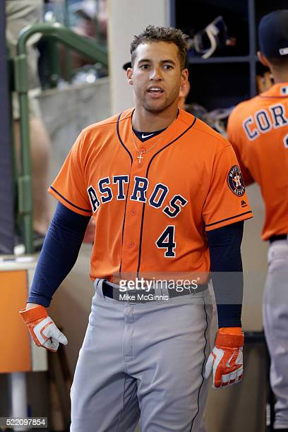 George Springer of the Houston Astros walks in the dugout before the start of the game against the Milwaukee Brewers at Miller Park on April 09 2016...