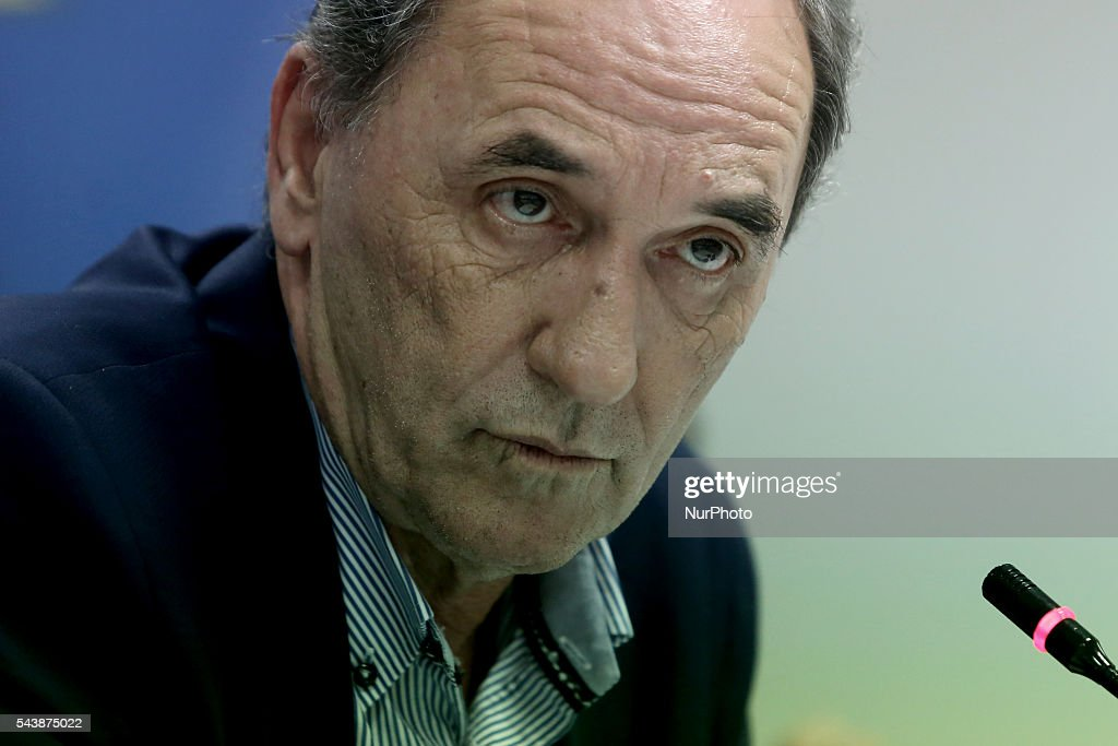George Stathakis, Greek Minister of Economy, Development and Tourism, during the press conference, at the Ministry of Economy. In Athens Greece, on June 30, 2016.