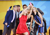 George Stephanopoulos Lara Spencer Robin Roberts Ariana Grande Amy Robach take a selfie Ariana Grande Performs During ABC's 'Good Morning America's'...