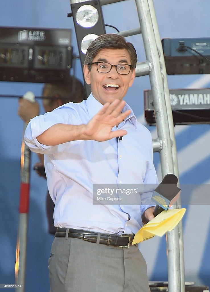 George Stephanopoulos waves to the crowd on ABC's 'Good Morning America' at Rumsey Playfield, Central Park on August 1, 2014 in New York City.