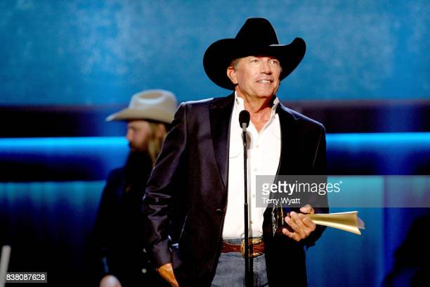 George Strait accepts the Cliffie Stone Icon Award onstage during the 11th Annual ACM Honors at the Ryman Auditorium on August 23 2017 in Nashville...