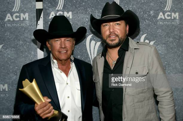George Strait and Jason Aldean attend the 11th Annual ACM Honors at the Ryman Auditorium on August 23 2017 in Nashville Tennessee
