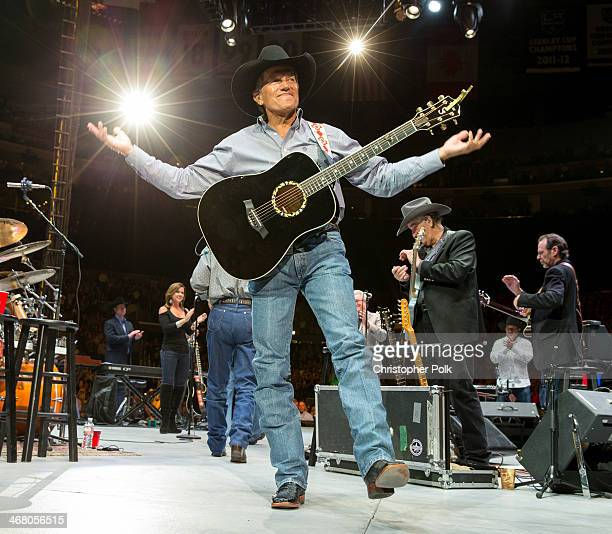 George Strait performs at the Staples Center on February 8 2014 in Los Angeles California