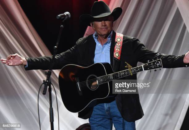 George Strait performs at the TJ Martell Foundation 9th Annual Nashville Honors Gala at Omni Hotel on February 27 2017 in Nashville Tennessee
