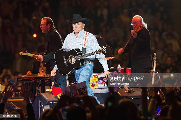 George Strait performs on stage at the Tacoma Dome on April 12 2014 in Tacoma Washington