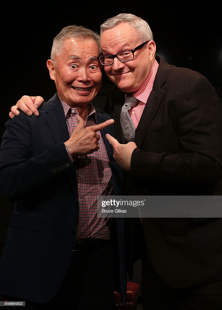 <a gi-track='captionPersonalityLinkClicked' href=/galleries/search?phrase=George+Takei&family=editorial&specificpeople=1534988 ng-click='$event.stopPropagation()'>George Takei</a> and husband <a gi-track='captionPersonalityLinkClicked' href=/galleries/search?phrase=Brad+Takei&family=editorial&specificpeople=5403945 ng-click='$event.stopPropagation()'>Brad Takei</a> pose as <a gi-track='captionPersonalityLinkClicked' href=/galleries/search?phrase=George+Takei&family=editorial&specificpeople=1534988 ng-click='$event.stopPropagation()'>George Takei</a> is the latest actor to perform in the new play 'White Rabbit Red Rabbit' (each week has a unique new guest star & benefits PEN International which supports writers living under hostile governments around the globe) at The Westside Theatre on June 15, 2016 in New York City.