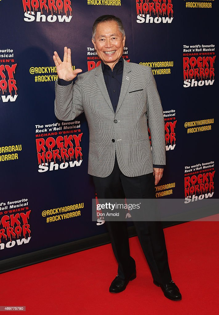 <a gi-track='captionPersonalityLinkClicked' href=/galleries/search?phrase=George+Takei&family=editorial&specificpeople=1534988 ng-click='$event.stopPropagation()'>George Takei</a> arrives at the opening night of the Rocky Horror Picture Show at the Lyric Theatre, Star City on April 15, 2015 in Sydney, Australia.