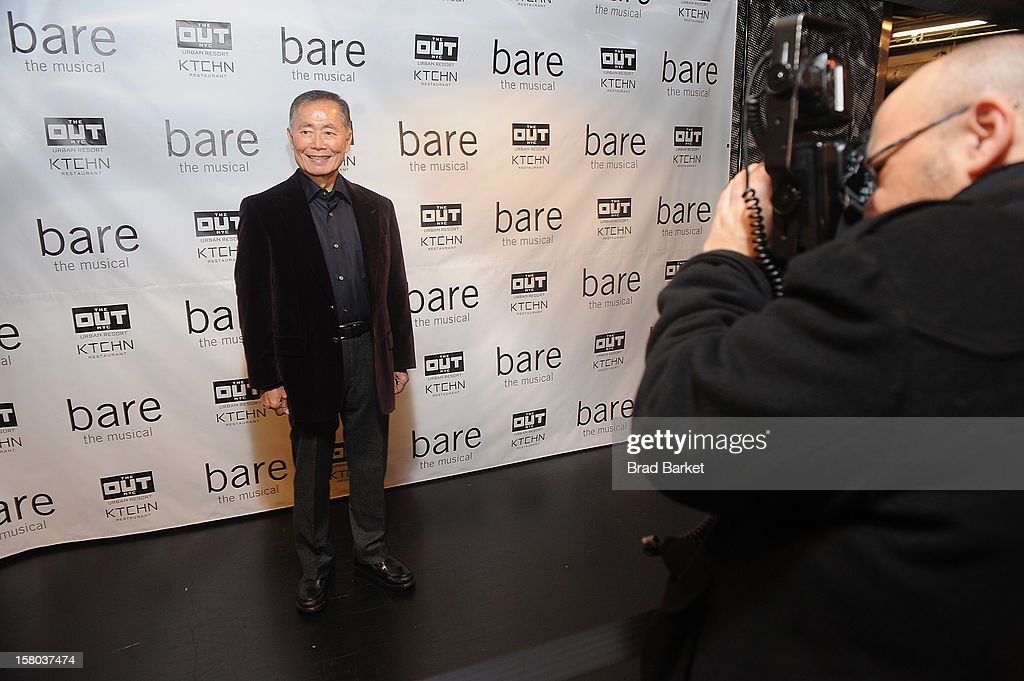 <a gi-track='captionPersonalityLinkClicked' href=/galleries/search?phrase=George+Takei&family=editorial&specificpeople=1534988 ng-click='$event.stopPropagation()'>George Takei</a> attends 'BARE The Musical' Opening Night at New World Stages on December 9, 2012 in New York City.