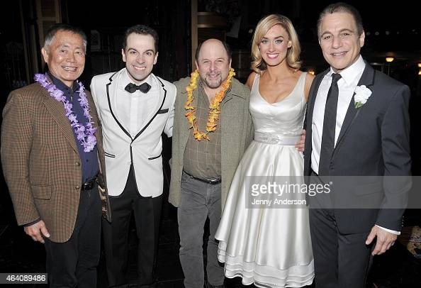 George Takei Rob McClure Jason Alexander Brynn O'Malley and Tony Danza backstage at 'Honeymoon In Vegas' at the Nederlander Theatre on February 21...