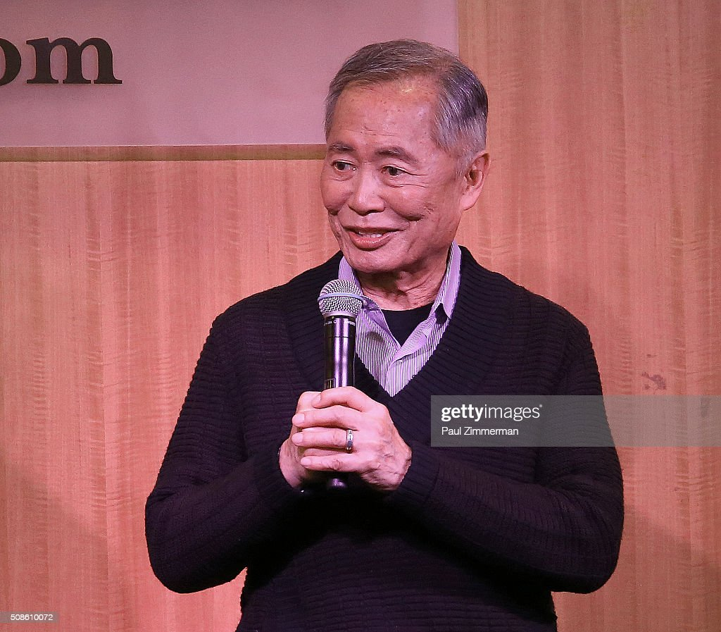 <a gi-track='captionPersonalityLinkClicked' href=/galleries/search?phrase=George+Takei&family=editorial&specificpeople=1534988 ng-click='$event.stopPropagation()'>George Takei</a> speaks at the Cast Of 'Allegiance' to Promote The Original Broadway Cast Recording at Barnes & Noble, 86th & Lexington on February 5, 2016 in New York City.