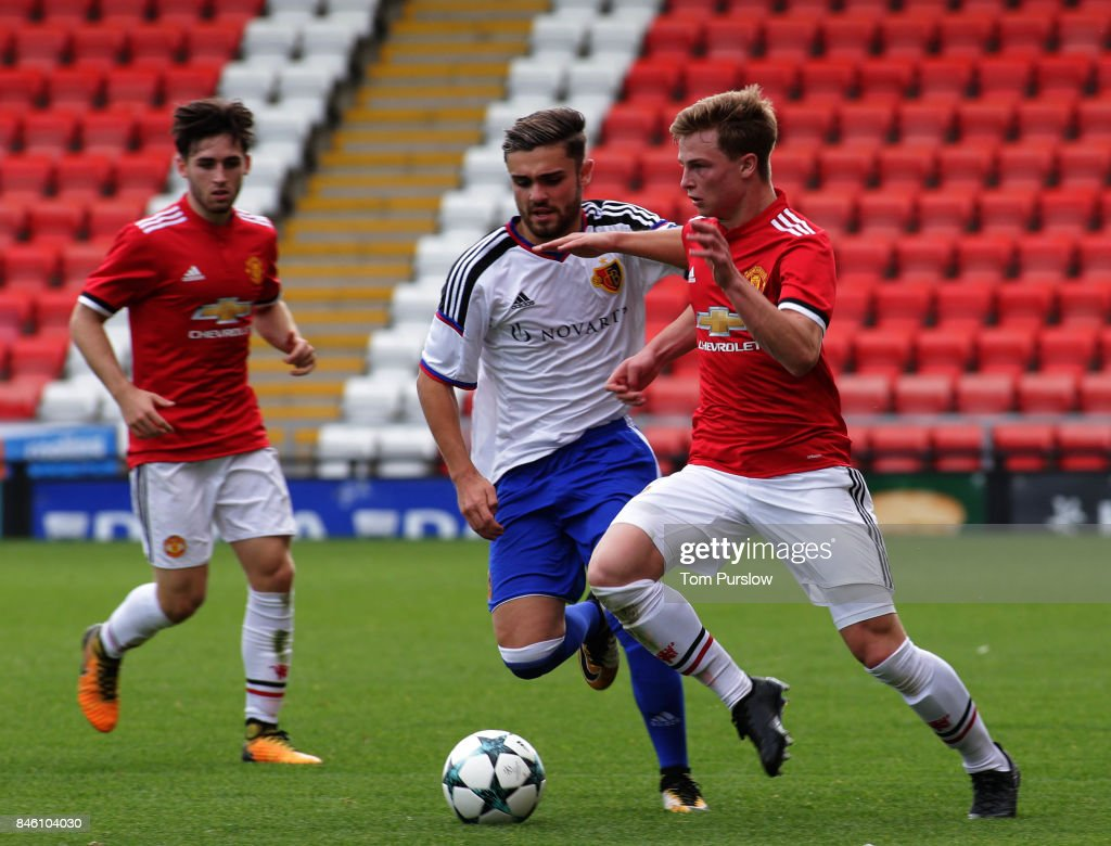 George Tanner of Manchester United U19s in action during the UEFA Youth League match between Manchester United U19s and FC Basel U19s at Leigh Sports Village on September 12, 2017 in Leigh, Greater Manchester.