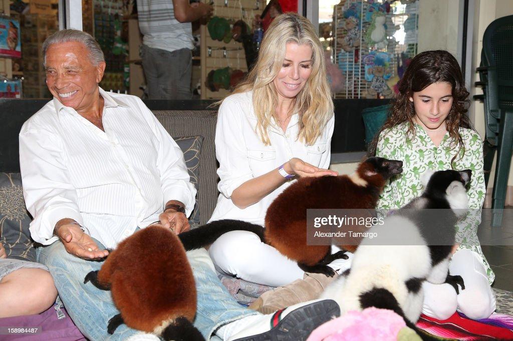 George Teichner, Aviva Drescher and Veronica Drescher are seen during the Jungle Island VIP Safari Tour at Jungle Island on January 4, 2013 in Miami, Florida.