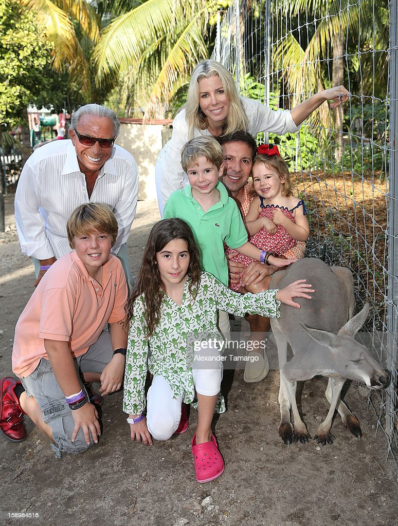 George Teichner, Harrison Drescher, Veronica Drescher, Hudson Drescher, Reid Drescher, Aviva Drescher and Sienna Drescher are seen during the Jungle Island VIP Safari Tour at Jungle Island on January 4, 2013 in Miami, Florida.