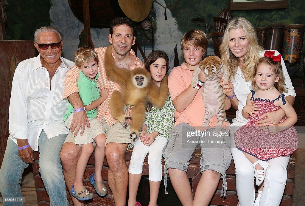 George Teichner, Hudson Drescher, Reid Drescher, Veronica Drescher, Harrison Drescher, Aviva Drescher and Sienna Drescher are seen during the Jungle Island VIP Safari Tour at Jungle Island on January 4, 2013 in Miami, Florida.