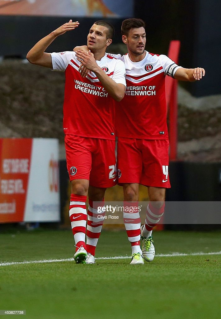 George Tucudean of Charlton celebrates his goal during the Sky Bet Championship match between Charlton Athletic and Derby County at The Valley on August 19, 2014 in London, England.