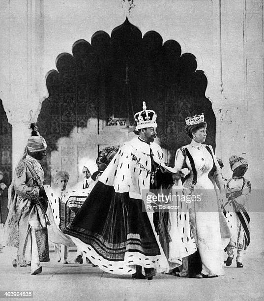 George V and Queen Mary in Delhi India The King and Queen travelled to India to attend the Delhi Durbar held to celebrate their coronation A print...