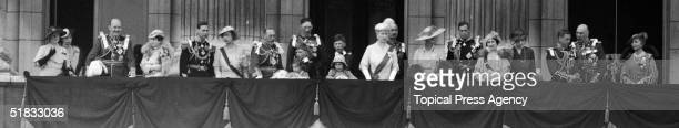 George V of Great Britain celebrating his silver jubilee with his family on the balcony at Buckingham Palace London 6th May 1935 Among those present...