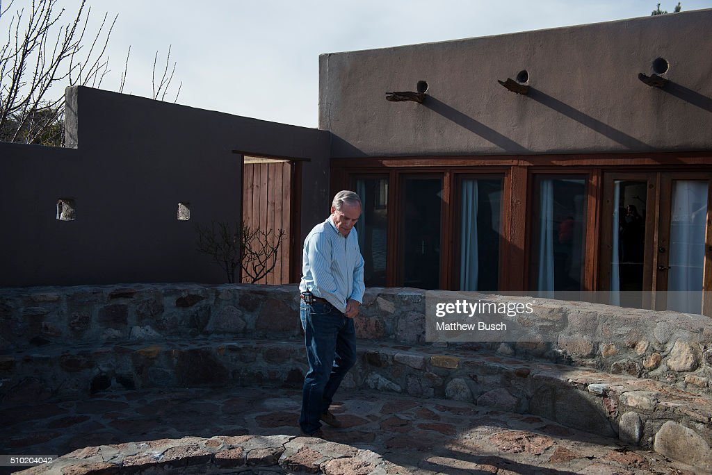 George Van Etten, a property manager at Cibolo Creek Ranch, shows reporters the Ranch house the day following the death Supreme Court Justice Antonin Scalia at the West Texas Resort ranch February 14 , 2016 in Shafter, Texas. Justice Scalia stayed in the 'El Presidente' suite, shown behind Van Etten, this past Friday night, he was found Saturday morning to have died, not responding to those who tried to wake him.