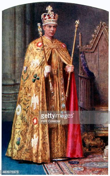 the Golden Imperial mantle with St Edward's crown 1937 A coloured plate from the Illustrated London News Coronation Record Number
