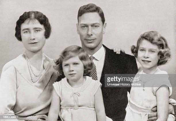 George Vi With His Wife Queen Elizabeth Elizabeth Angela Marguerite BowesLyon And Their Children The Princesses Margaret And Elizabeth Circa 1937...