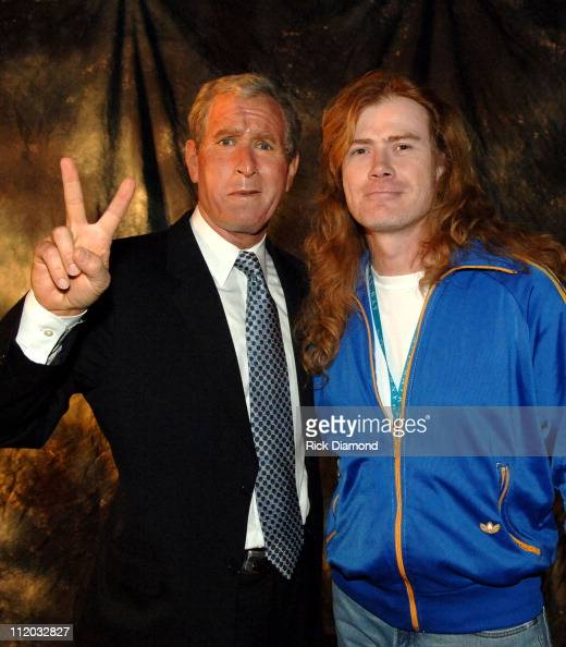 George W Bush Look a Like and Dave Mustaine during 17th Annual Pollstar Concert Industry Awards Backstage at Mandalay Bay Theatre in Las Vegas Nevada...