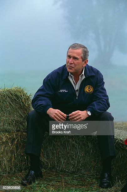 George W Bush speaks about salmon preservation and his environmental policy while visiting Monroe Washington during his presidential campaign Bush...
