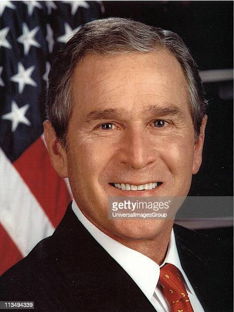 George Walker Bush 43rd President of the United States 20012009 46th Governor of Texas 19952000 Headandshoulders portrait with starsandstripes in...