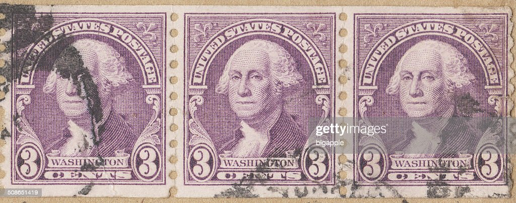 George Washington 3 Cent Stamp United States : Stock Photo
