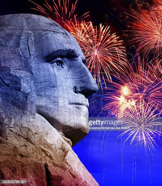 George Washington and fireworks (Digital Composite)