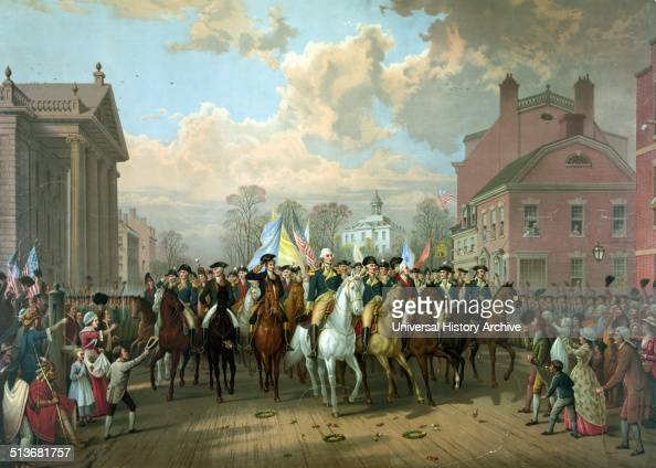 George Washington and other military officers riding on horseback along the street on Evacuation day A public holiday in Suffolk County to celebrate...