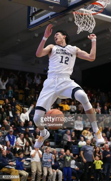 George Washington Colonials guard Yuta Watanabe after shooting a basket during a men's college basketball game between the George Washington...