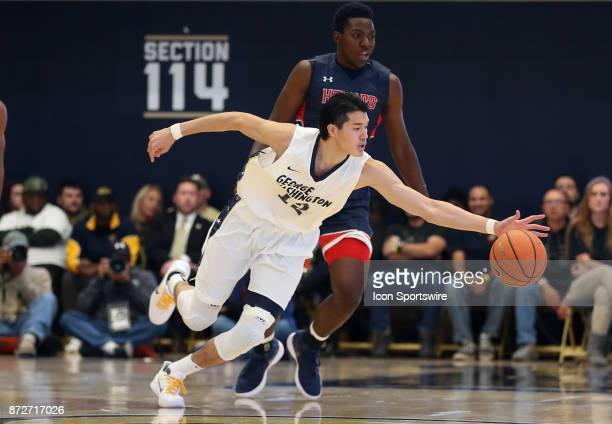 George Washington Colonials guard Yuta Watanabe reaches out for the ball during a men's college basketball game between the George Washington...