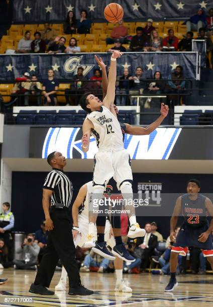 George Washington Colonials guard Yuta Watanabe wins the tipoff during a men's college basketball game between the George Washington Colonials and...