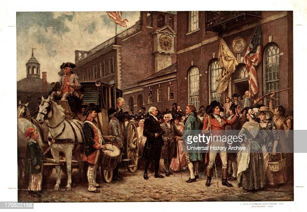 George Washington's inauguration at Philadelphia by Jean Leon Gerome Ferris 18631930 Print shows George Washington arriving at Congress Hall in...