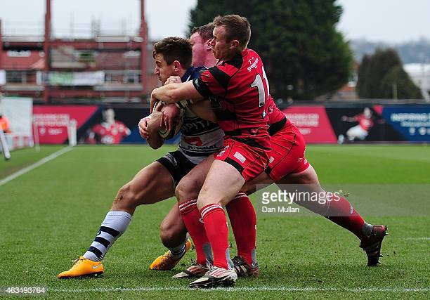 George Watkins of Bristol goes over for his side's second try during the Greene King IPA Championship match between Bristol Rugby and Moseley at...