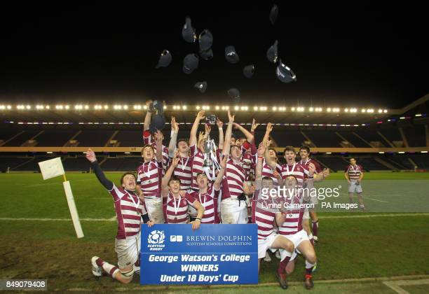 George Watson's College team group celebrate winning the Under18's Cup Final at Murrayfield