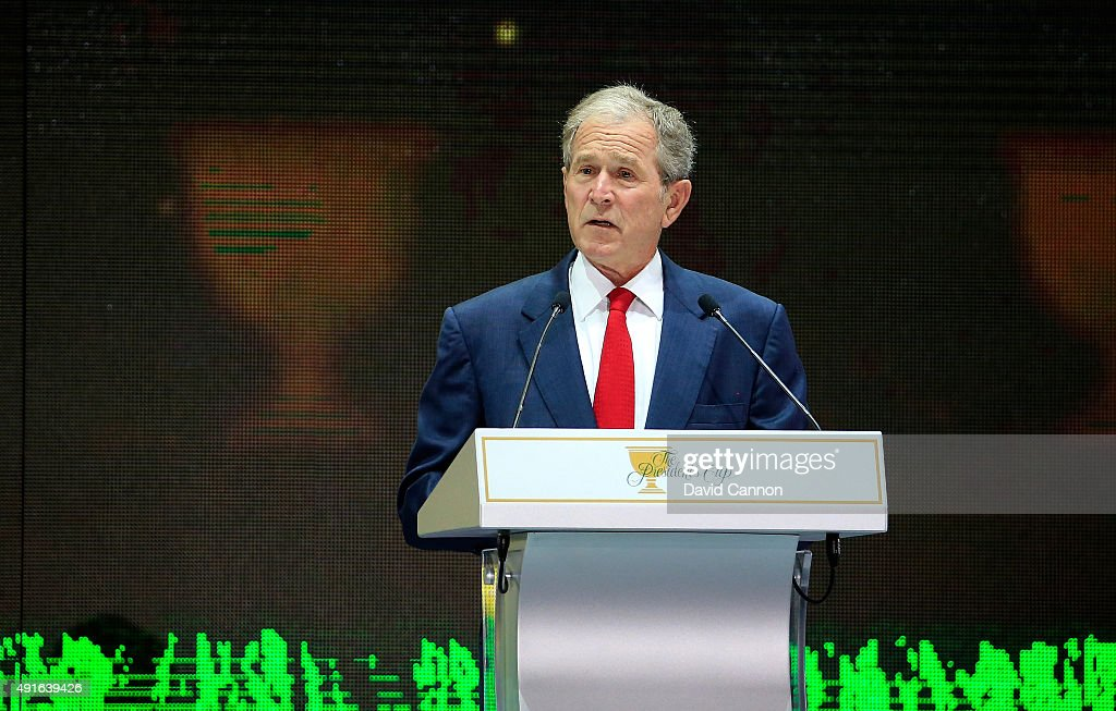 George WBush the former President of the United States speaks during the opening ceremony of the 2015 Presidents Cup at the Convensia Ceremony Hall...