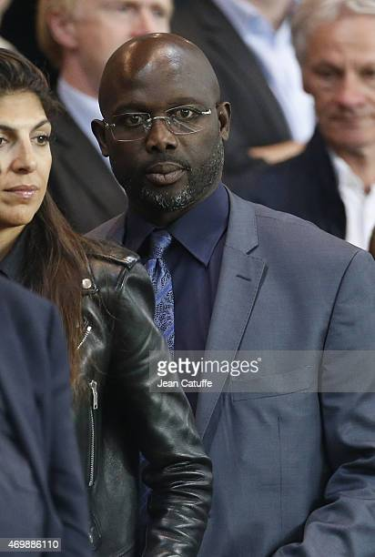 George Weah attends the UEFA Champions League quater final first leg match between Paris SaintGermain and FC Barcelona at Parc des Princes stadium on...